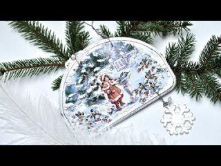 Декупаж. Новогоднее панно. Имитация снега, создание потертостей.