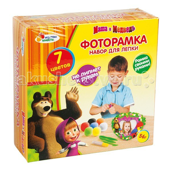 Набор для лепки маша и медведь фоторамка, Играем вместе
