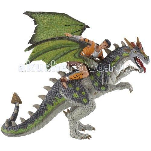 Фигурка дракон и воин 18 см, Bullyland