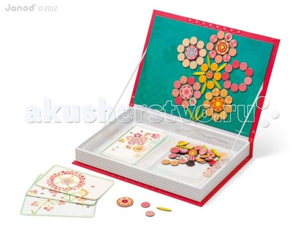 Магнитная книга большая мозаика цветы, Janod