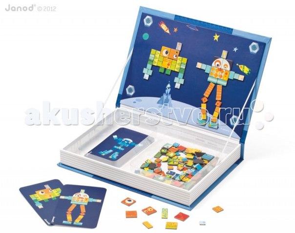 Магнитная книга большая мозаика роботы, Janod