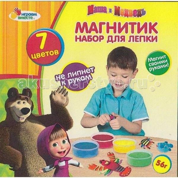 Набор для лепки маша и медведь магнитик, Играем вместе