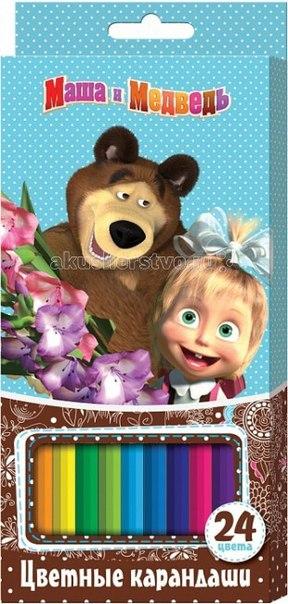 Цветные карандаши 24 9 цв. 22287, Маша и Медведь