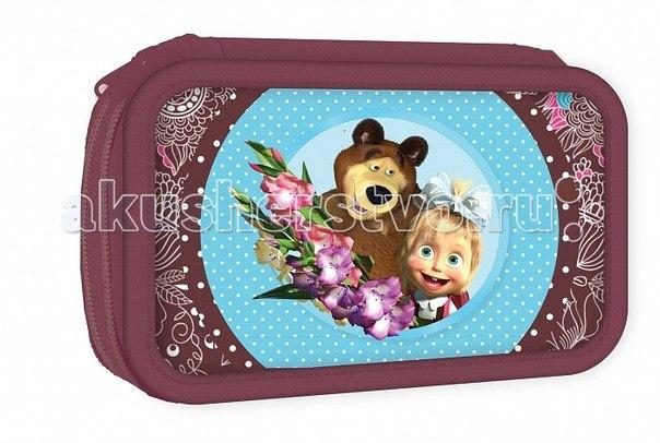 Пенал двухсекционный бирюза 22104, Маша и Медведь