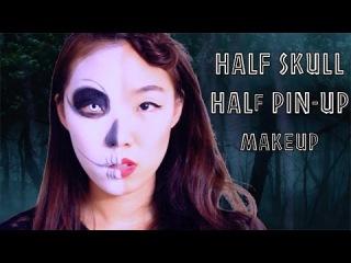 EASY last minute halloween makeup tutorial - Half skull / Half classic pin up doll makeup