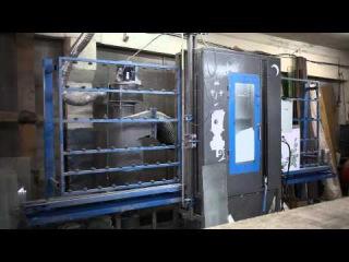 Процесс автоматической пескоструйной обработки стекла и зеркал