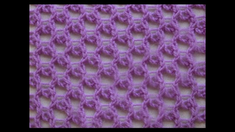 Knotted openwork stitch_Ажурная сетка
