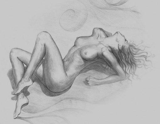 девушка голая рисунок