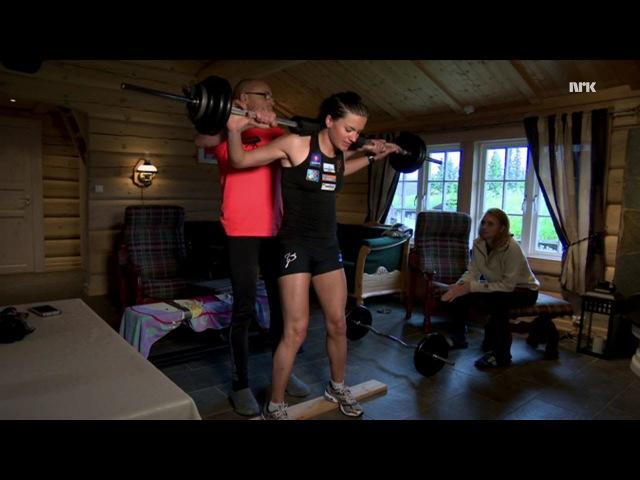 Heidi Weng trener midt i stua på hytta - sammen med hele familien