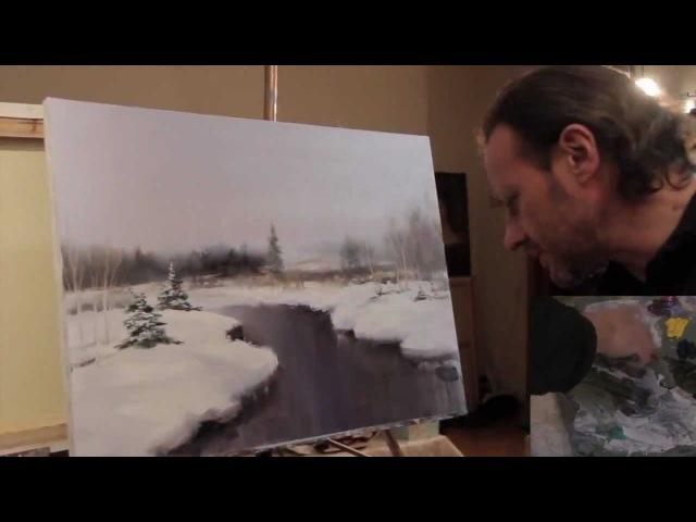 Научится рисовать Полный видеоурок И.Сахарова 'ЗИМНИЙ ПЕЙЗАЖ'