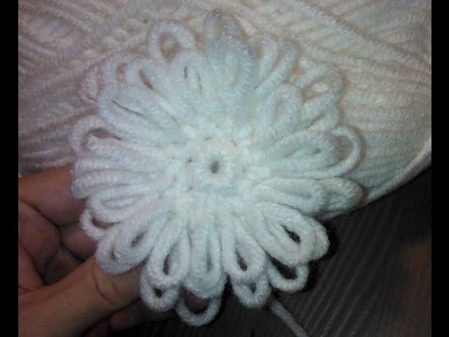 Вязаный цветок Крючком толстой пряжей Crochet flower Thick yarn