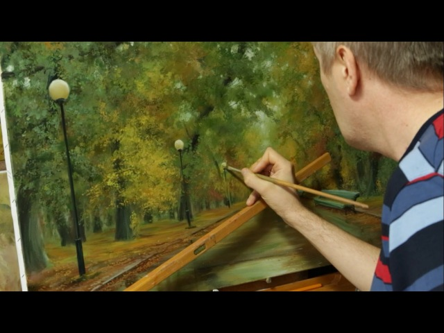 Работа над картиной Осень в парке. Process of creating oil painting from Oleg Buiko.