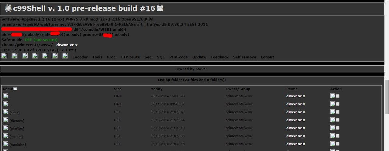 Сломали сайт c99Shell v  1 0 pre-release build #16 | Drupal ru