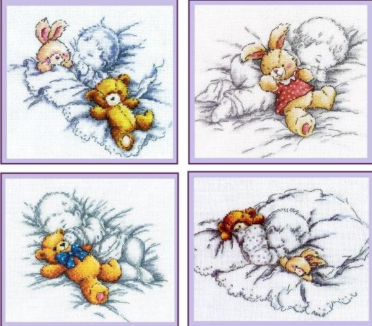 Схема вышивки крестом малыш с мишкой 38