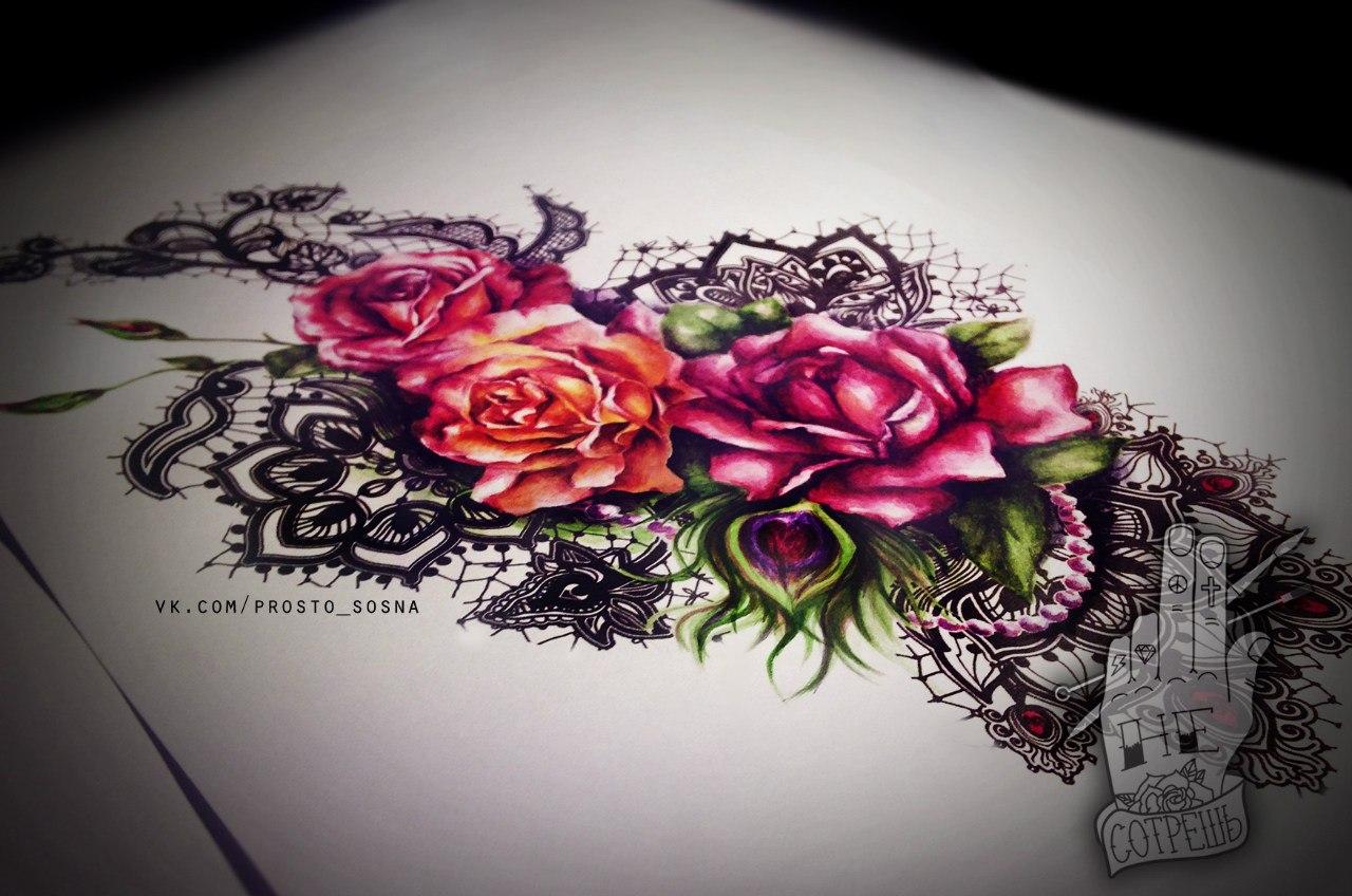 Эскизы кружева тату цветы на