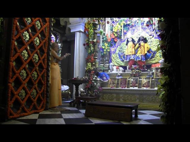 H.H. Gopal Krishna Goswami, Kartika 15.11.2012, Mangala-arati in Krishna Balaram Mandir