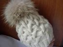 Вязание шапки спицами узором коса с тенью 12 петель
