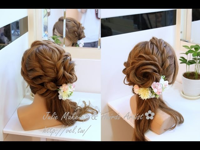 玫瑰花側編髮 髮型教學 Rose side swept hairstyle