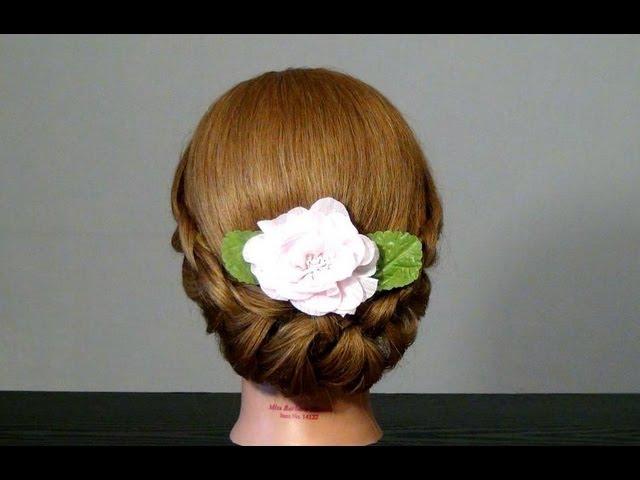 Прическа с плетением на средние волосы. Braided updo hairstyles
