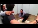 Andy Gross SplitMan Returns / Magician Cut in Half Elevator magic trick prank