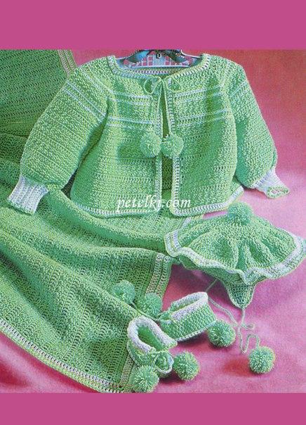Вязаный комплект для новорожденных (5 фото) - картинка