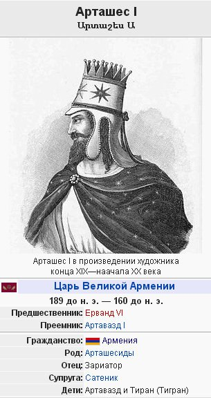 Первый Царь великой Армении Арташес I Артаксий
