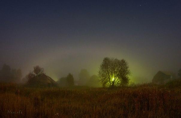Марина Мурашова, автор фото: «Cнимок был сделан в ночь с 7 на 8 сентября 2014 года, за день до полнолуния. В эту ночь стоял густой туман, луна светила в небе, как фонарь, и стечение этих двух обстоятельств создали не такое уж частое явление - туманную лунную радугу». Другие снимки Марины Мурашовой смотрите по ссылке