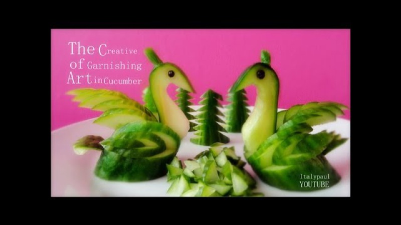 Art In Cucumber Swans - Fruit Vegetable Carving Garnish | Cucumber Sushi Garnish | Italypaul.co.uk