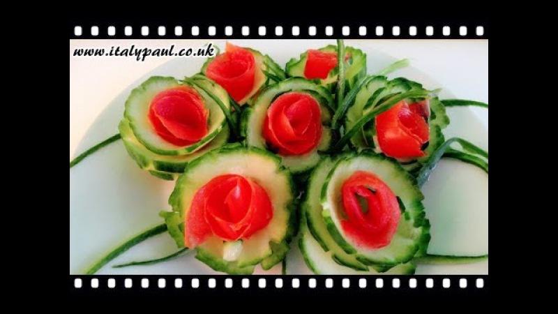 Art In Cucumber Tomato Show - Vegetable Carving Rose Garnish | Italypaul.co.uk