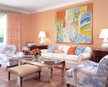 персиковый интерьер