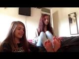 Feet Tickle Challenge-two crazy ticklish teens