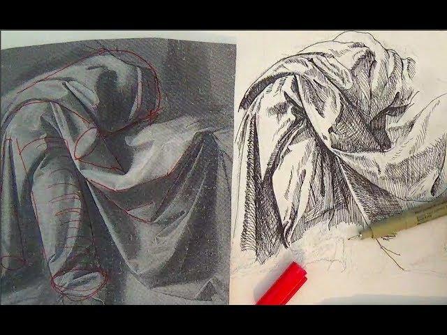 Pen and Ink Drawing Tutorials   How to draw drapery like Leonardo da Vinci