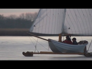 "Ice yachting with ""Poolvos III"" on the ""Westeinderplassen"", Netherlands in HD"