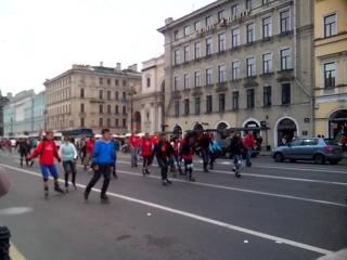 Пробег роллеров по Невскому проспекту,посвящённый 70-летию Победы