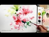 Акварель - красивый цветок (как нарисовать)