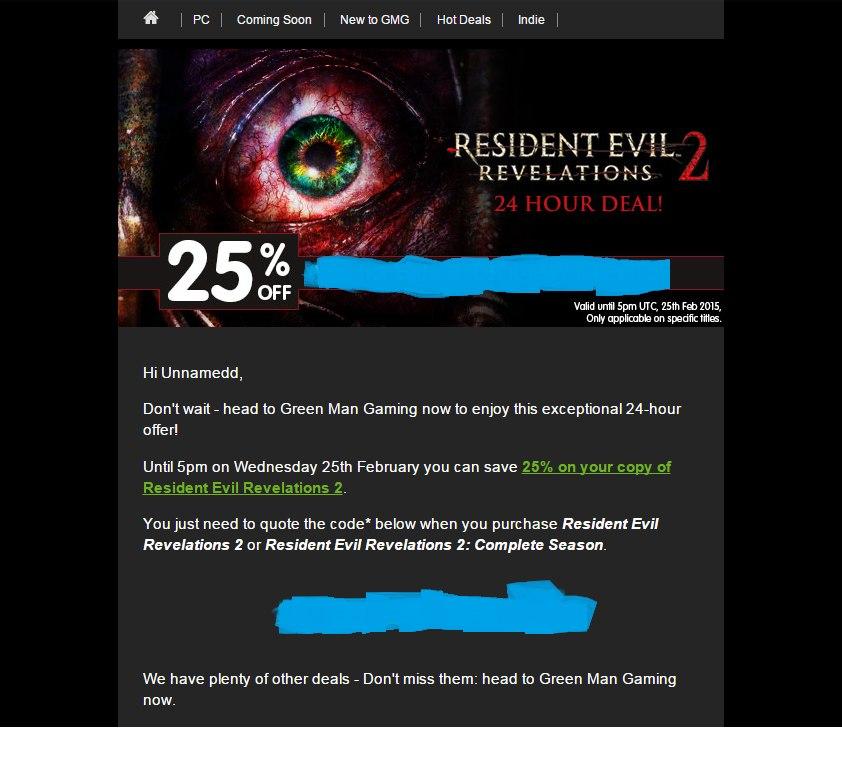 25% Voucher Code на ResidentEvil Revelations 2