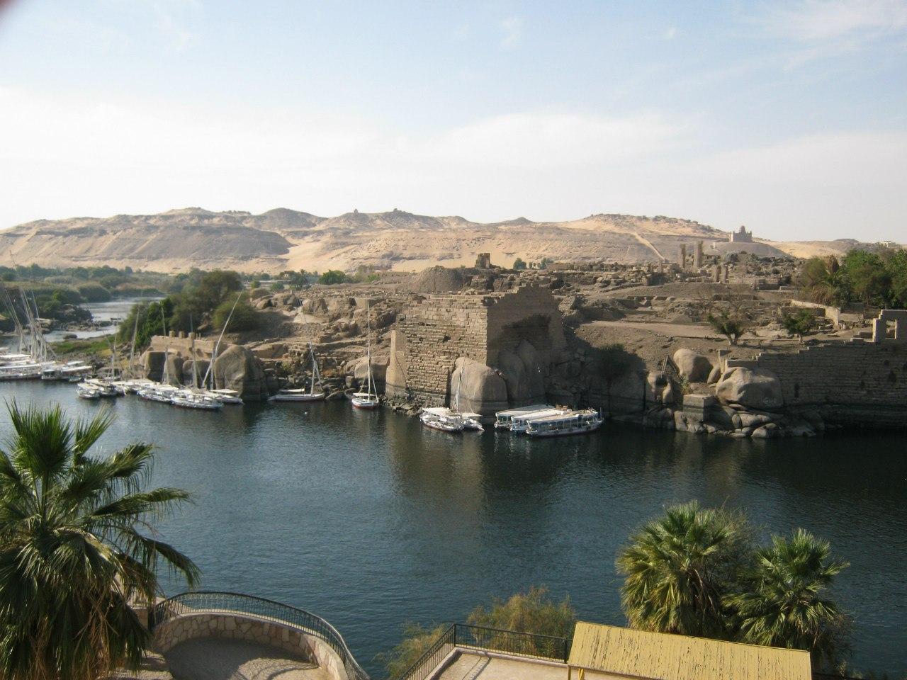 Из садов Фeрьял (в Асуане) вид на реку Нил