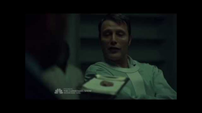 Hannibal Lecter eating Frederick Chilton's lip. S03E12