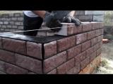 Кладка цоколя из кирпича СКЦ (тяжёлого бетона).