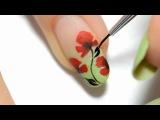 Easy Nail Art Poppy design One stroke