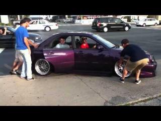 slammed Subaru gets stuck at H2O 2012