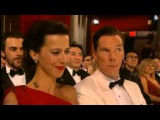 Oscars 2015-Awe Moments..Benedict Cumberbatch swigs whisky and John Travolta pronounces Idina Menzel