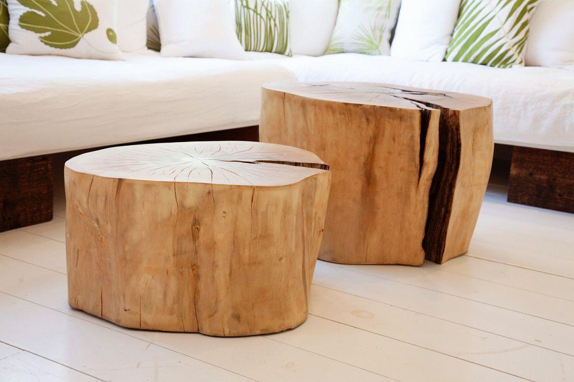 Натуральный пенек из дерева в дизайне и декоре интерьера
