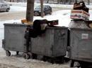 Латвия. Голодный бомж ныряет в мусорный бак.