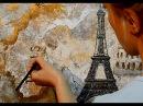 Урок живописи. Как нарисовать картину Акриловыми красками Стилизация под старинную карту