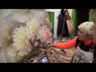 Мастер-класс на двух холстах. Цветы. Живопись маслом. Workshop