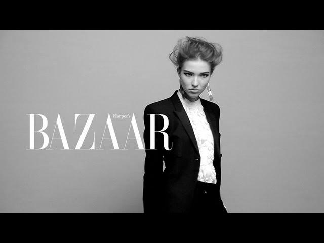 Sasha Luss on the set of Benjamin Kanarek for Harper's BAZAAR