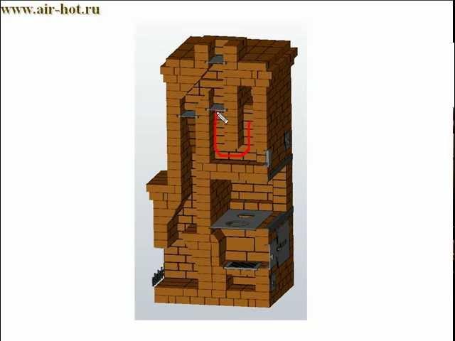 Печь Шведка с камином конструкции А.И. Рязанкина