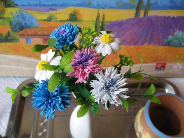 Цветы из фоамирана Василек и ромашка часть 2