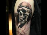 Процесс нанесения татуировки.Череп.  Process of tattooing